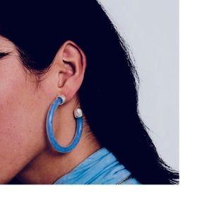 Dark Blue and Silver Capped Resin Hoop Earrings